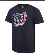 Wholesale Cheap Men's Washington Nationals USA Flag Fashion T-Shirt Navy Blue