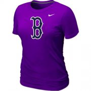 Wholesale Cheap Women's MLB Boston Red Sox Heathered Nike Blended T-Shirt Purple