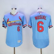 Wholesale Cheap Cardinals #6 Stan Musial Light Blue Flexbase Authentic Collection Cooperstown Stitched MLB Jersey