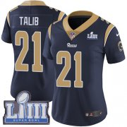 Wholesale Cheap Nike Rams #21 Aqib Talib Navy Blue Team Color Super Bowl LIII Bound Women's Stitched NFL Vapor Untouchable Limited Jersey