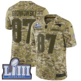 Wholesale Cheap Nike Patriots #87 Rob Gronkowski Camo Super Bowl LIII Bound Youth Stitched NFL Limited 2018 Salute to Service Jersey