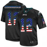 Wholesale Cheap Nike Eagles #12 Randall Cunningham Black Men's Stitched NFL Elite USA Flag Fashion Jersey