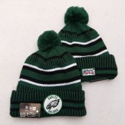 Wholesale Cheap Eagles Team Logo Green 100th Season Pom Knit Hat YD