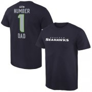Wholesale Cheap Men's Seattle Seahawks Pro Line College Number 1 Dad T-Shirt Navy