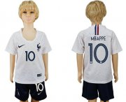 Wholesale Cheap France #10 Mbappe Away Kid Soccer Country Jersey