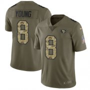 Wholesale Cheap Nike 49ers #8 Steve Young Olive/Camo Men's Stitched NFL Limited 2017 Salute To Service Jersey