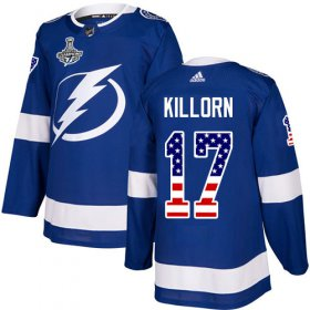 Cheap Adidas Lightning #17 Alex Killorn Blue Home Authentic USA Flag Youth 2020 Stanley Cup Champions Stitched NHL Jersey