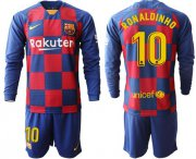 Wholesale Cheap Barcelona #10 Ronaldinho Home Long Sleeves Soccer Club Jersey