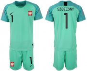 Wholesale Cheap Poland #1 Szczesny Green Goalkeeper Soccer Country Jersey