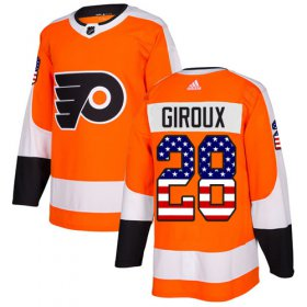 Wholesale Cheap Adidas Flyers #28 Claude Giroux Orange Home Authentic USA Flag Stitched Youth NHL Jersey