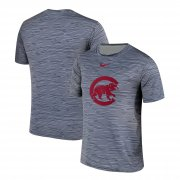 Wholesale Cheap Nike Chicago Cubs Gray Black Striped Logo Performance T-Shirt