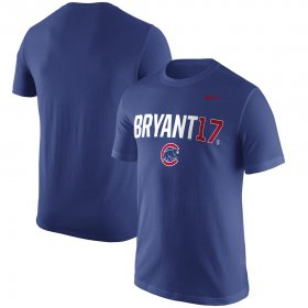 Wholesale Cheap Chicago Cubs #17 Kris Bryant Nike Nickname Name & Number Performance T-Shirt Royal