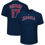 Wholesale Cheap Los Angeles Angels #17 Shohei Ohtani Majestic Name & Number T-Shirt Navy