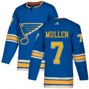 Wholesale Cheap Adidas Blues #7 Joe Mullen Light Blue Alternate Authentic Stitched NHL Jersey
