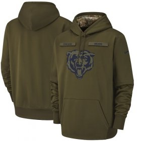 Wholesale Cheap Men\'s Chicago Bears Nike Olive Salute to Service Sideline Therma Performance Pullover Hoodie