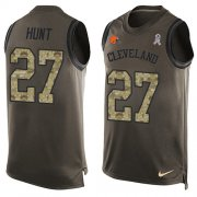 Wholesale Cheap Nike Browns #27 Kareem Hunt Green Men's Stitched NFL Limited Salute To Service Tank Top Jersey