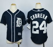 Wholesale Cheap Tigers #24 Miguel Cabrera Navy Blue Cool Base Stitched Youth MLB Jersey