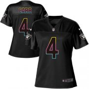 Wholesale Cheap Nike Raiders #4 Derek Carr Black Women's NFL Fashion Game Jersey
