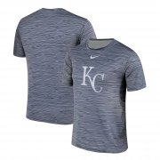 Wholesale Cheap Nike Kansas City Royals Gray Black Striped Logo Performance T-Shirt