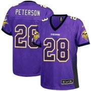 Wholesale Cheap Nike Vikings #28 Adrian Peterson Purple Team Color Women's Stitched NFL Elite Drift Fashion Jersey
