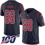 Wholesale Cheap Nike Texans #88 Jordan Akins Navy Blue Youth Stitched NFL Limited Rush 100th Season Jersey