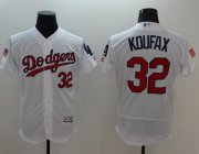 Wholesale Cheap Dodgers #32 Sandy Koufax White Fashion Stars & Stripes Flexbase Authentic Stitched MLB Jersey
