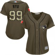 Wholesale Cheap Blue Jays #99 Hyun-Jin Ryu Green Salute to Service Women's Stitched MLB Jersey