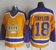 Wholesale Cheap Kings #18 Dave Taylor Yellow/Purple CCM Throwback Stitched NHL Jersey