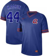 Wholesale Cheap Nike Braves #44 Hank Aaron Royal Authentic Cooperstown Collection Stitched MLB Jersey
