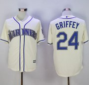 Wholesale Cheap Mariners #24 Ken Griffey Cream New Cool Base2016 Hall Of Fame Patch Stitched MLB Jersey