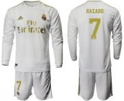 Wholesale Cheap Real Madrid #7 Hazard White Home Long Sleeves Soccer Club Jersey