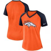 Wholesale Cheap Women's Denver Broncos Nike Orange-Navy Top V-Neck T-Shirt