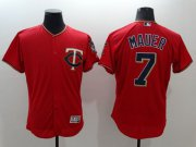 Wholesale Cheap Twins #7 Joe Mauer Red Flexbase Authentic Collection Stitched MLB Jersey