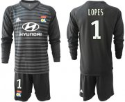 Wholesale Cheap Lyon #1 Lopes Black Goalkeeper Long Sleeves Soccer Club Jersey