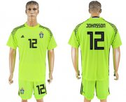 Wholesale Cheap Sweden #12 Johnsson Shiny Green Goalkeeper Soccer Country Jersey
