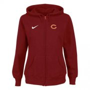 Wholesale Cheap Nike Chicago Bears Ladies Tailgater Full Zip Hoodie Red