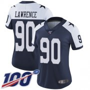 Wholesale Cheap Nike Cowboys #90 Demarcus Lawrence Navy Blue Thanksgiving Women's Stitched NFL 100th Season Vapor Throwback Limited Jersey