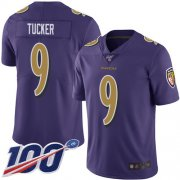 Wholesale Cheap Nike Ravens #9 Justin Tucker Purple Men's Stitched NFL Limited Rush 100th Season Jersey