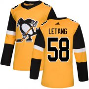 Wholesale Cheap Adidas Penguins #58 Kris Letang Gold Alternate Authentic Stitched Youth NHL Jersey