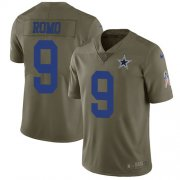 Wholesale Cheap Nike Cowboys #9 Tony Romo Olive Youth Stitched NFL Limited 2017 Salute to Service Jersey