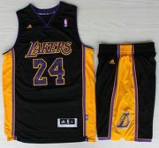 Wholesale Cheap Los Angeles Lakers #24 Kobe Bryant Black Revolution 30 Swingman NBA Jerseys Shorts Suits Purple Number 2013 New Style