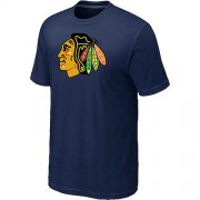 Wholesale Cheap Chicago Blackhawks Big & Tall Logo Midnight Blue NHL T-Shirt