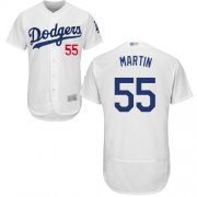 Wholesale Cheap Dodgers #55 Russell Martin White Flexbase Authentic Collection Stitched MLB Jersey