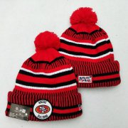 Wholesale Cheap 49ers Team Logo Red 100th Season Pom Knit Hat YD