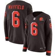 Wholesale Cheap Nike Browns #6 Baker Mayfield Brown Team Color Women's Stitched NFL Limited Therma Long Sleeve Jersey