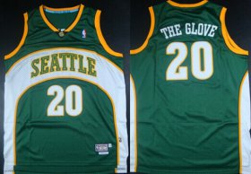 Wholesale Cheap Seattle Supersonics #20 The Glove Nickname Green Swingman Throwback Jersey