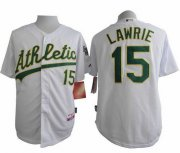 Wholesale Cheap Athletics #15 Brett Lawrie White Cool Base Stitched MLB Jersey