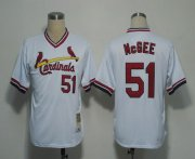 Wholesale Cheap Mitchell And Ness Cardinals #51 Willie McGee White Throwback Stitched MLB Jersey