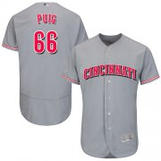 Wholesale Cheap Reds #66 Yasiel Puig Grey Flexbase Authentic Collection Stitched MLB Jersey