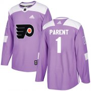 Wholesale Cheap Adidas Flyers #1 Bernie Parent Purple Authentic Fights Cancer Stitched Youth NHL Jersey